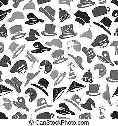 šedivý, klobouky, ikona, dát, seamless, model, eps10