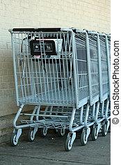 šedivý, kov, shopping vozík