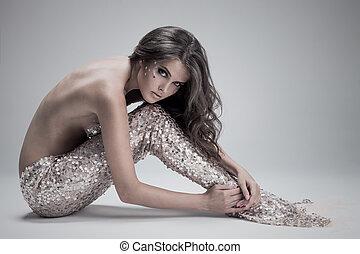 šedivý, móda, grafické pozadí., shot., mermaid., fantazie,...