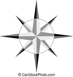 šedivý, vektor, windrose