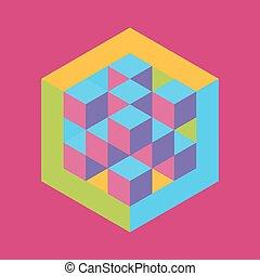 šestiúhelník, forma, s, trojmocnina, inscribed., vektor,...