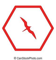 šestiúhelník, ptáček, fregata