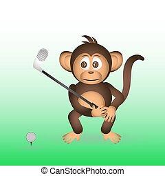 šikovný, šimpanz, hraní golf, sport, maličký, opice, eps10