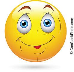 šikovný, bezelstný, smiley postavit se obličejem k