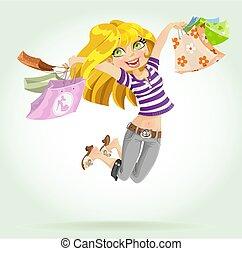 šikovný, blond, děvče, shopaholic, s, shopping ztopit