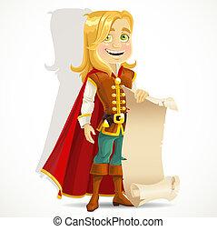 šikovný, blond, princ, s, jeden, svitek, o, pergamen, jako, tvůj, prapor