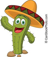 šikovný, kaktus, karikatura, charakter