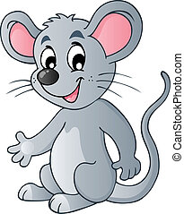 šikovný, karikatura, myš