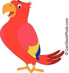 šikovný, karikatura, papoušek, vektor, ilustrace