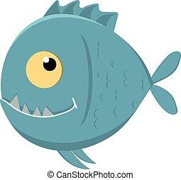 šikovný, karikatura, piranha, s, nota s kříkem zuby