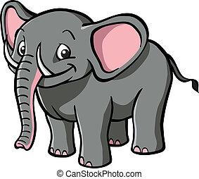 šikovný, karikatura, slon
