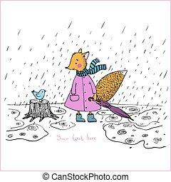 šikovný, kolem, liška, pohádka, rain., ptáček