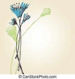 šikovný, květiny, grafické pozadí, pramen