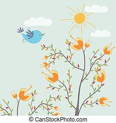 šikovný, květiny, ptáček
