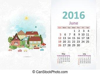 šikovný, lahodnost, town., kalendář, jako, 2016, červen