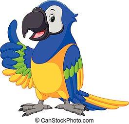 šikovný, macaw, karikatura