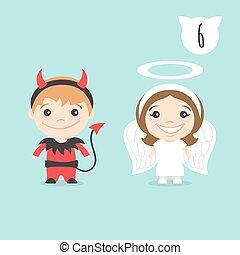 šikovný, maličký, děti, anděl, sluha, ďábel, dva, ilustrace, nezbeda, costume., characters., vektor, kostým, děvče, nebo, šťastný