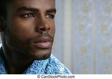 šikovný, mládě, americký, čerň, afričan, portrét, voják