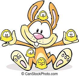 šikovný, osamocený, kuře, domnívat se, velikonoční bunny