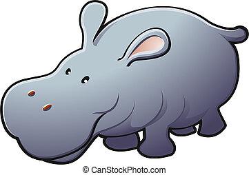 šikovný, přátelský, hippo, vektor, ilustrace