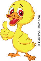 šikovný, palec up, kachna, děťátko, karikatura