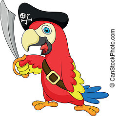 šikovný, pirát, papoušek, karikatura