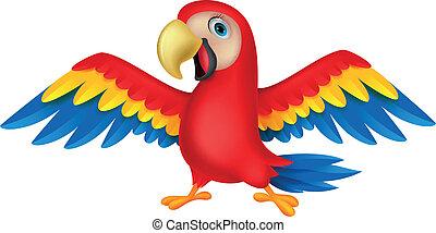 šikovný, ptáček, papoušek, karikatura