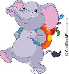 šikovný, slon, cestovat, do, škola