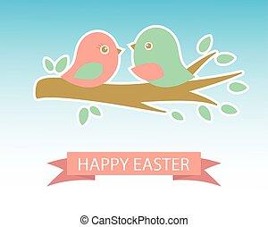 šikovný, třešeň, dva, velikonoční, ptáci, karta
