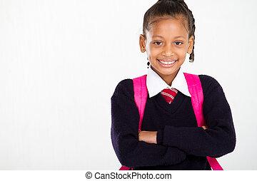 školačka, portrét, délka, napolo
