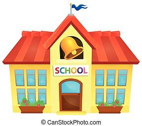 škola, budova, námět, podoba, 1