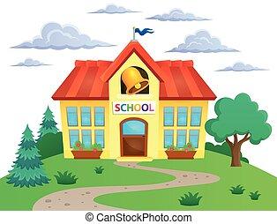 škola, budova, námět, podoba, 2