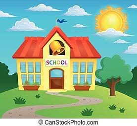 škola, budova, námět, podoba, 3