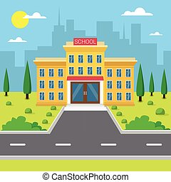 škola, budovat povrchový, velkoměsto prohlédnout