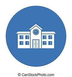 škola, ikona, black., svobodný, budova, ikona, od, ta, důleitý velkoměsto, infrastruktura, black.