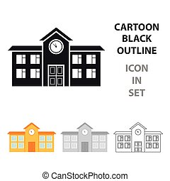 škola, ikona, cartoon., svobodný, budova, ikona, od, ta, důleitý velkoměsto, infrastruktura, cartoon.