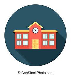 škola, ikona, cartoon., svobodný, budova, ikona, od, ta, důleitý velkoměsto, infrastruktura, set.