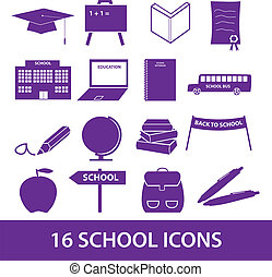 škola, ikona, dát, eps10