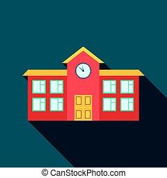 škola, ikona, flate., svobodný, budova, ikona, od, ta, důleitý velkoměsto, infrastruktura, flate.