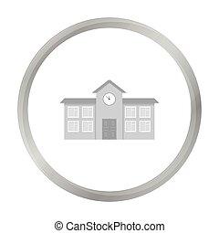 škola, ikona, monochrome., svobodný, budova, ikona, od, ta, důleitý velkoměsto, infrastruktura, monochrome.