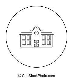 škola, ikona, outline., svobodný, budova, ikona, od, ta, důleitý velkoměsto, infrastruktura, outline.