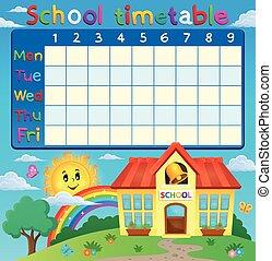 škola, rozvrh hodin, s, škola, budova