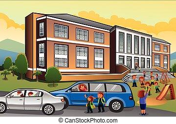 škola, vybírání, rodiče, up, děti