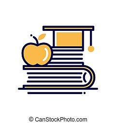 školství, -, moderní, vektor, jednoduché vedení, ikona