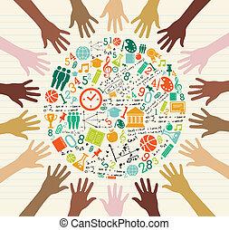 školství, souhrnný, ikona, lidský, hands.