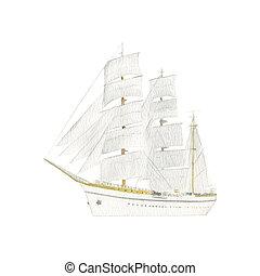 škuner, sails., dopravovat, kecal, dát, letadlo, barva...