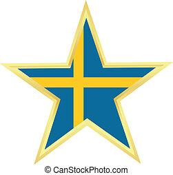švédsko, hvězda, prapor, zlatý