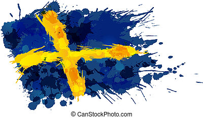 švédsko, udělal, prapor, barvitý, šplouchnutí