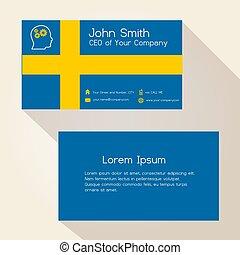 švédsko znamení, barva, business card, design, eps10