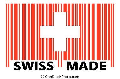 švýcarský, barcode, -, udělal